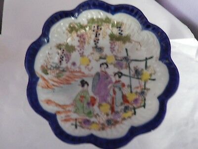 Fab Antique Large Japanese Ladies By River With Grape Vines & Flowers Design Bow