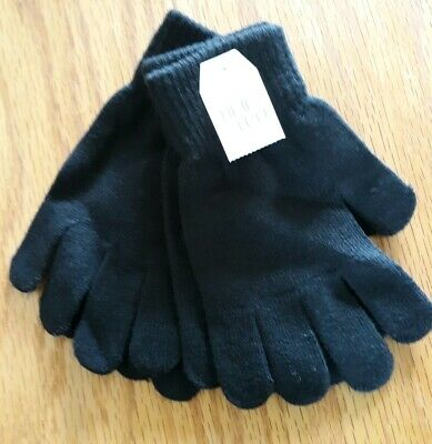 """2 pair WOMEN'S ONE SIZE MAGIC STRETCH GLOVES Ladies """"Black Soot"""" NEW Time & Tru"""