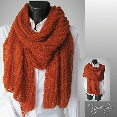 dunkel-rot Ajour Winter Schal Winterschal Strickschal Loopschal Knit Scarf