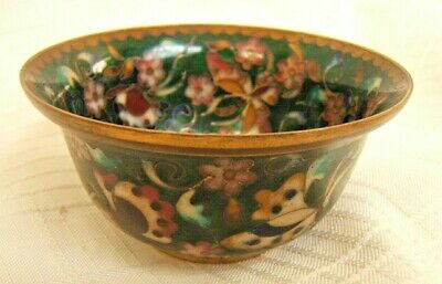 Very Fine Chinese Cloisonne Bowl Gold & Silver Wire Signed
