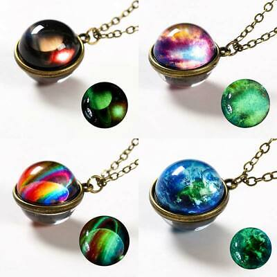 HOT Double Sided Pendant Necklace Universe Planet Nebula Galaxy Choker Jewelry