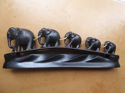 """Vintage Antique Carved Dark Wood 5 Elephant Family on Solid Wooden Stand 15"""""""