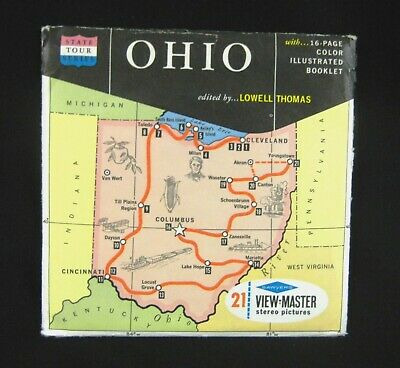 """""""OHIO The Buckeye State"""" 1960s Sawyer's View-Master Map Packet State Tour Series"""