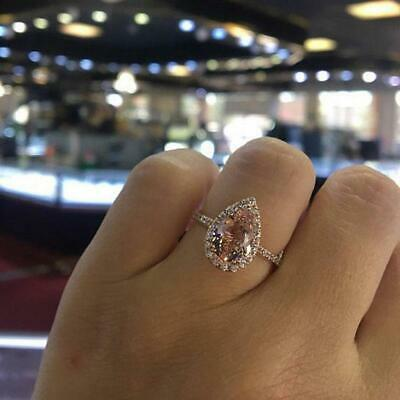 Fashion Rose Gold Gem Ring Party Wedding Zircon Engagement Jewelry For Women 6T