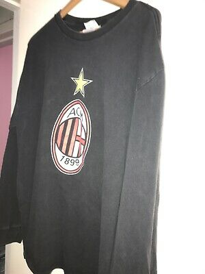 Adidas AC Milan 1899 Logo Long Sleeve Graphic T Shirt Big Logos Men Xl Warm Up