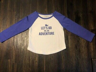 Nwt Baby Gap Girls Let's Go On An Adventure White Purple Jersey 18-24 Months New