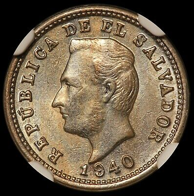 1940 El Salvador 1 One Centavo Coin - NGC MS 62 - KM# 133