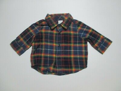 New Nwt Infant Boys Baby Gap Navy Blue Plaid Flannel Shirt Size 0-3 Months