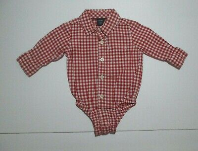 Infant Boys Baby Gap Red Gingham Check Bodysuit Shirt Size 3-6 Months