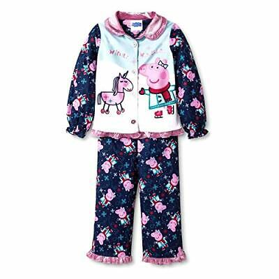 Peppa Pig Toddler Girls' Unicorn Winter Wonderland Flannel Coat Pajama Set