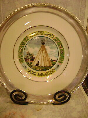 Sterling Silver Rimmed Lenox Plate California Indians Golden Anniversary 1919-69