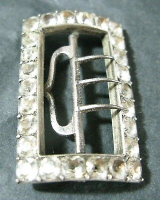 Gorgeous Georgian Silver, Steel & Black Dot Paste Buckle Vgc 4.5 Cms Tall