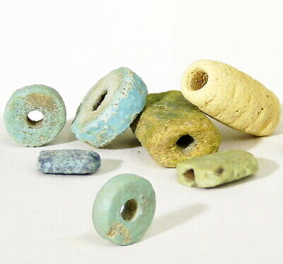 Ancient EGYPTIAN Faience Beads Aqua, Green Blue, Disc, Tube 500 BC Authentic