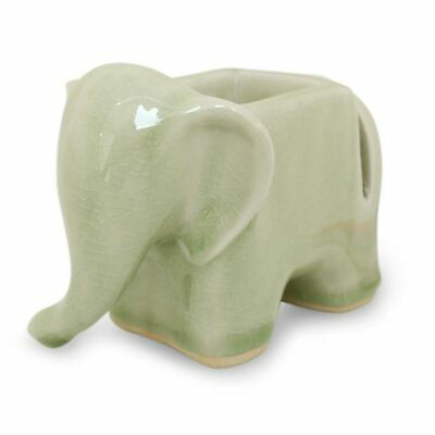 Green Elephant Thai Celadon Ceramic Card & Clip Holder Green Crackle Art NOVICA