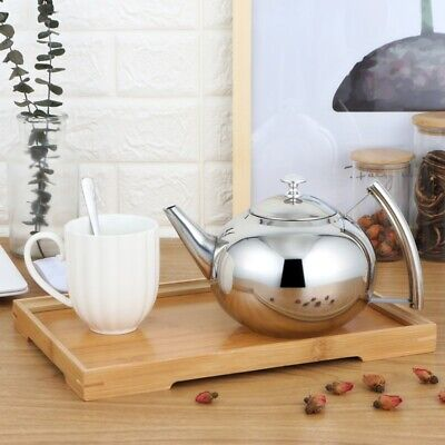 Large Stainless Steel Teapot Stovetop Kettle Coffee Pot Lid Induction Base 1-2L