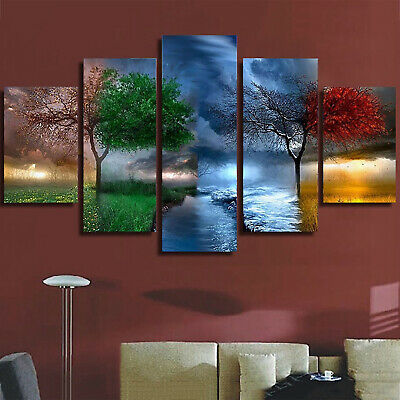 Modern Abstract Seasons Art Oil Painting Picture Print Wall Mural Decor 5Pcs/Set