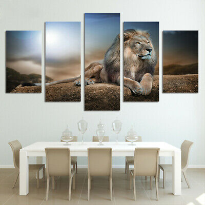 Modern Animals Lion Abstract Art Print Painting Picture Home Wall Decor Unframed