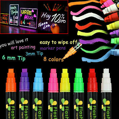 8 Colours 6mm Dual Nib Neon Liquid Chalk Pen Marker Blackboard Glass Window