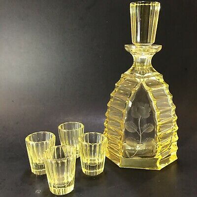 Crystal Decanter 4 Cordial Glasses Citrin Yellow Cut To Clear Deco Remarkable
