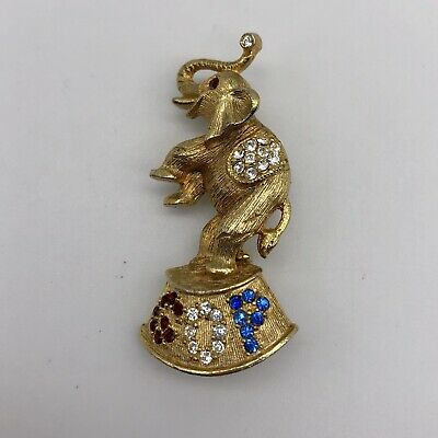 Republican Party GOP Elephant Rhinestone Pin Brooch Campaign Jewelry America