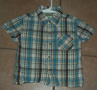 Baby Boy's Toddler 24 Mos KIDGET Pretty Plaid Button Up Dress Shirt