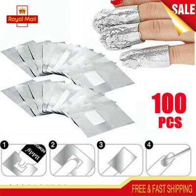 100 pcs Gel Polish Remover Wraps Pads Foil Acetone Nail Art Cleaner