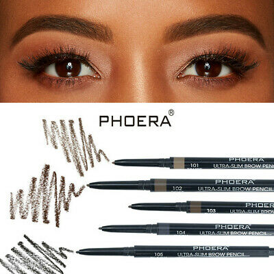 PHOERA 2in1 Waterproof Eyebrow Pencil Eye Brow Eyeliner Pen + Brush Makeup