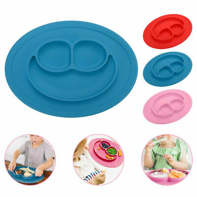 Smile Bowl Silicone Mat Baby Kids Child Suction Table Food Tray Placemat Plate