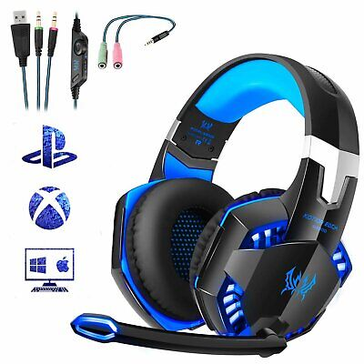 3.5mm Gaming Headset MIC LED Headphones for PC SW Laptop PS4 Slim Pro Xbox One S