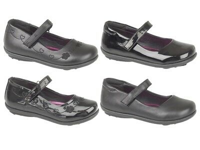 HALF PRICE Girls Black Patent or PU School Shoes Mary Jane Faux Leather Shoes