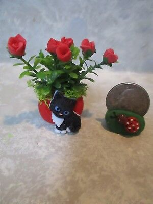 Miniature white kitty Cat Vase of pink polymer roses//heart vase 1 1//2/""
