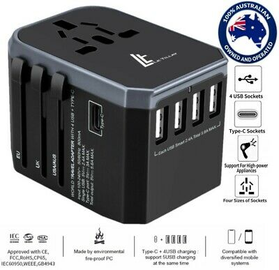 LE TILLAY Universal Travel Adapter 5.6A(MAX)-High Speed 2.4A -4USB and 1Type C