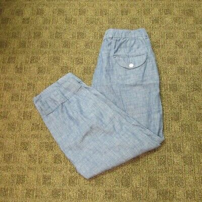 FREE PEOPLE Light Blue Cotton Stretch Waist Casual Cropped Pants Sz M HH0021