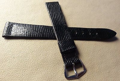 Vintage New Old Stock NOS about 16mm Regular Black Genuine Lizard Watch Band