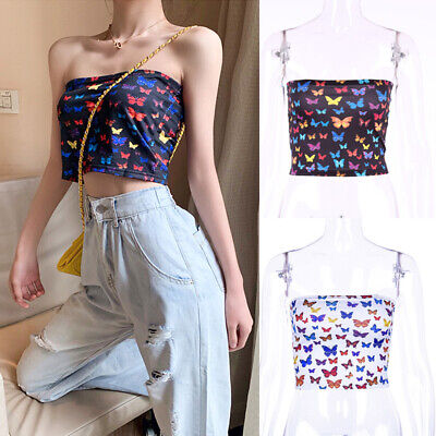 Womens Butterfly Boob Tube Strapless Blouse Shirt Stretch Vest Bra Crop Tops