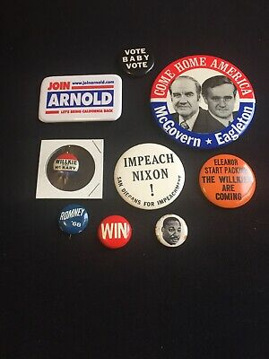 Vintage Political Buttons Pins Lot of 9 Nixon MLK McGovern Willkie Eleanor King
