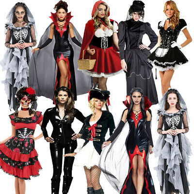 Adult Lady Halloween Costume Vampire Witch Zombie Bride Day of Dead Fancy Dress