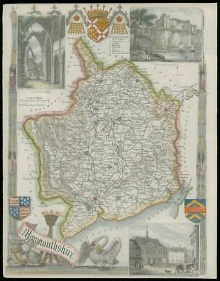 1840 Original Antique MAP Wales of MONMOUTHSHIRE by Thomas Moule (W/DW132)