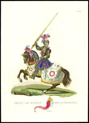 1824 Original Antique Print KING HENRY EIGHTH Horse Military Costume A.D.1540 (4