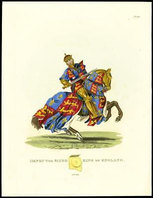 1824 Large Antique Print KING HENRY 6th HORSE Armour Costume A.D.1425 (24)