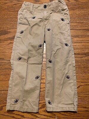 Gymboree Toddler Boys Size 3T Classic Fit Football Print Chinos Pants Tan