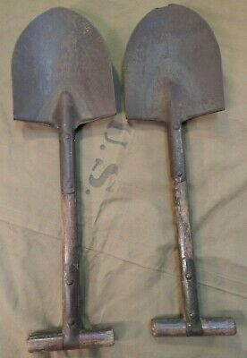 WWII / WW2 U.S. Army, M-1910 T-Handle Entrenching Shovel, Two (2), WWII Shovels