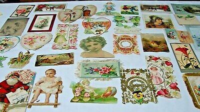ANTIQUE 1800s VICTORIAN EARLY 1900s LOT 36 ALBUM GREETING HOLIDAY SCRAP CARDS