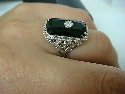 Antique Art-Deco 18K White Gold Filigree Ring With Onyx And Diamond, Size 4.25