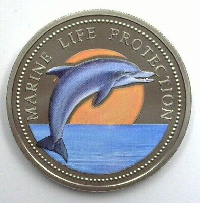 Marine Life Protection 1998 Colorized Dollar -Bottle Nose Dolphin- Perfect Proof