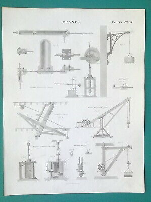 CRANES Various Types Hydrostatic Moving Gilpin's etc - 1814 Antique Print