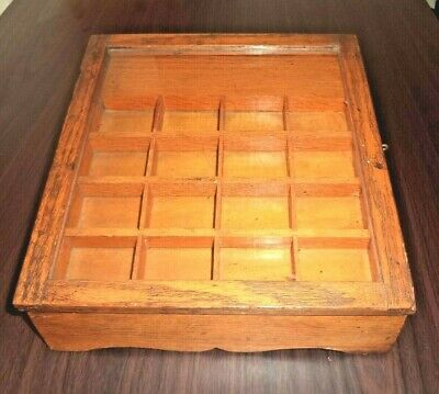 Antique Wooden Sewing Jewelry Tea Box Glass Hinged Lid Compartments & Drawer VGC