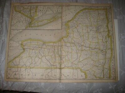 Huge Gorgeous Vintage Antique 1889 New York State City Long Island Railroad Map