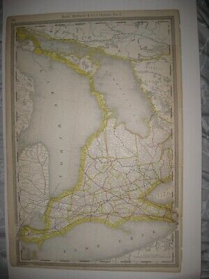 LARGE VINTAGE ANTIQUE 1889 ONTARIO No. 1 RAILROAD & STOPS MAP DETAILED SUPERB NR