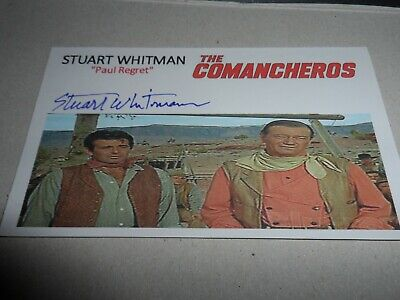 Autograph On 5 X 3 Index Card Stuart Whitman Played Paul Regret The Comancheros
